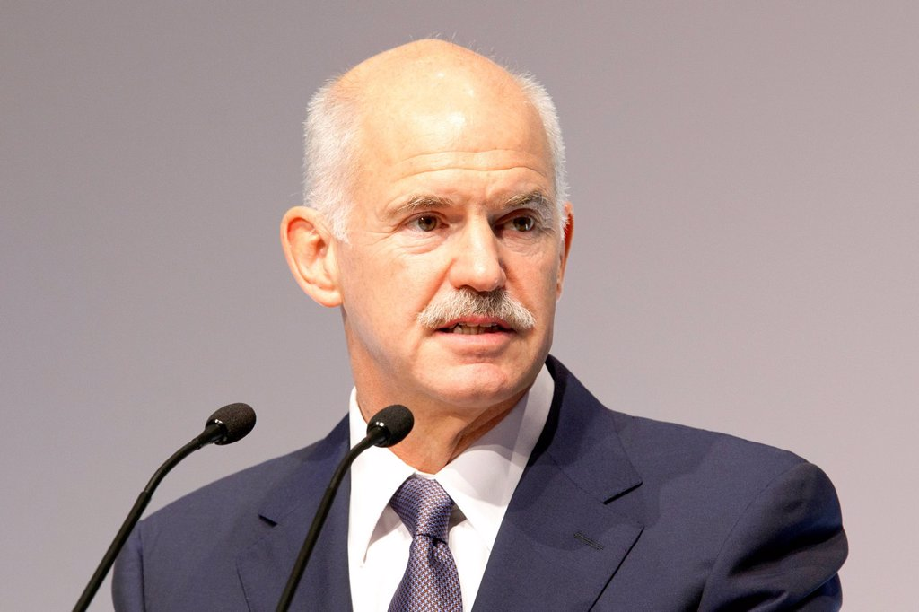 Giorgos Andrea Papandreou, Prime Minister of Greece, BDI day of German Industry, 27 September 2011 in Berlin, Germany, Europe : Stock Photo