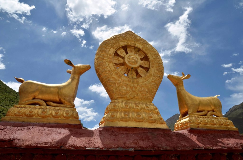 Stock Photo: 1848-715165 Tibetan Buddhism, Dharma wheel with two golden antelopes, Terdrom Nunnery, Terdrom, Tidro Gompa, Himalayas, Lhundrup district, central Tibet, Tibet, China, Asia