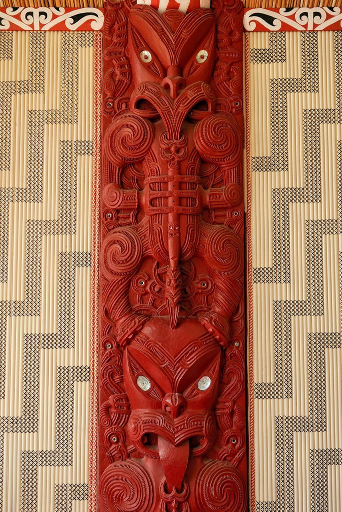 Stock Photo: 1848-715386 Maori carving, wooden relief with mother of pearl inlays, figural representation and ornaments, Maori Meeting House, Waitangi Treaty Grounds, Waitangi, North Island, New Zealand