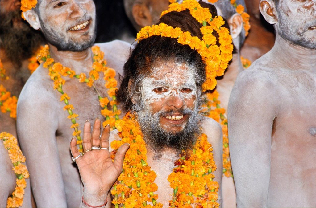 Participants in the archaic Shivratri procession, Varanasi, Uttar Pradesh, India, Asia : Stock Photo