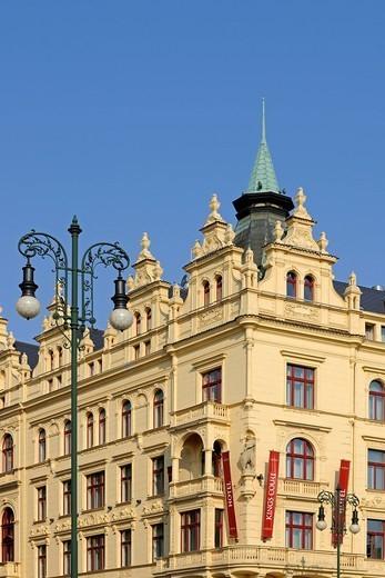 Stock Photo: 1848-715632 Magnificent art nouveau façade on the Republic Square, Prague, Bohemia, Czech Republic, Europe