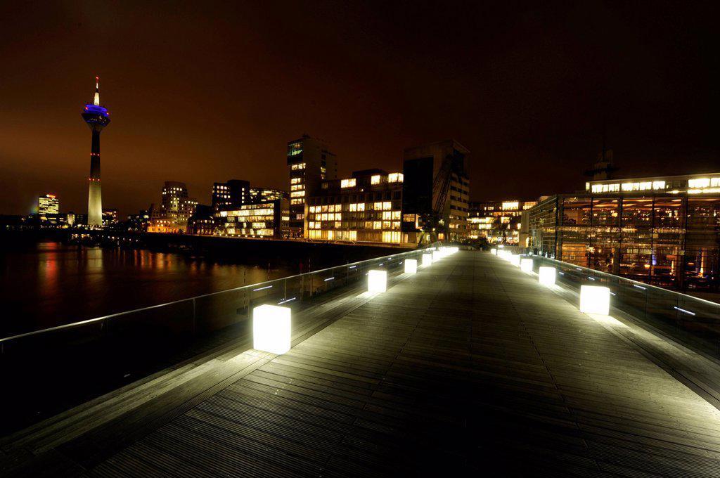 Duesseldorf´s Medienhafen, with the Gehry buildings and Rheinturm tower at night, Duesseldorf, North Rhine_Westphalia, Germany Europe : Stock Photo