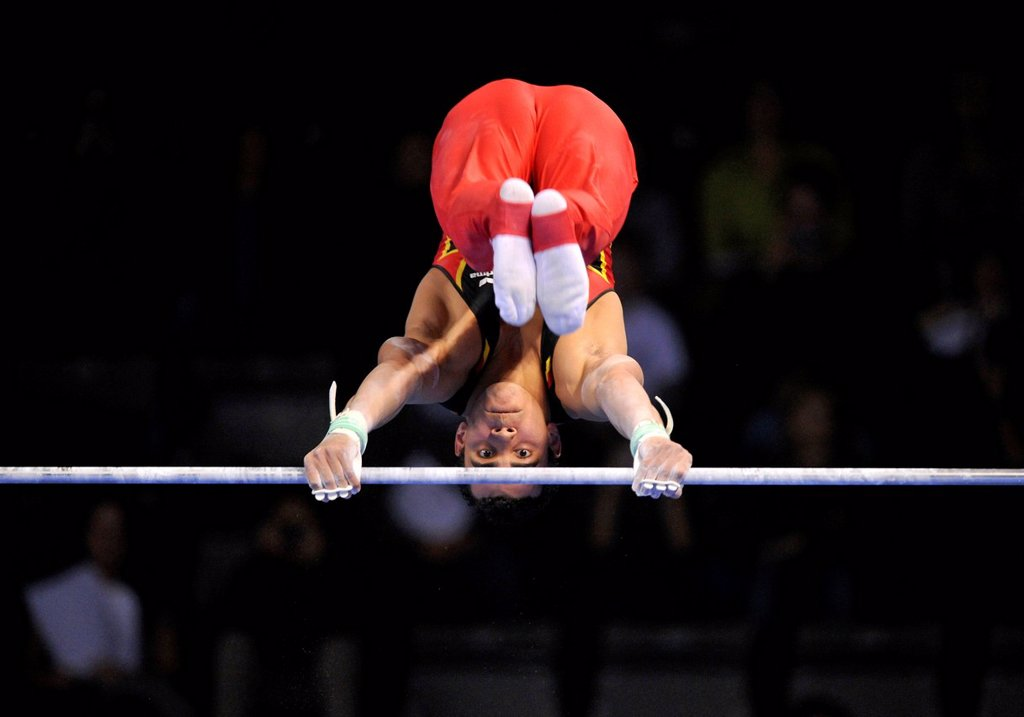 Matthias Fahrig, GER, performing on high bar, EnBW Gymnastics World Cup, 11 to 13 Nov 2011, 29th DTB Cup, Porsche_Arena, Stuttgart, Baden_Wuerttemberg, Germany, Europe : Stock Photo