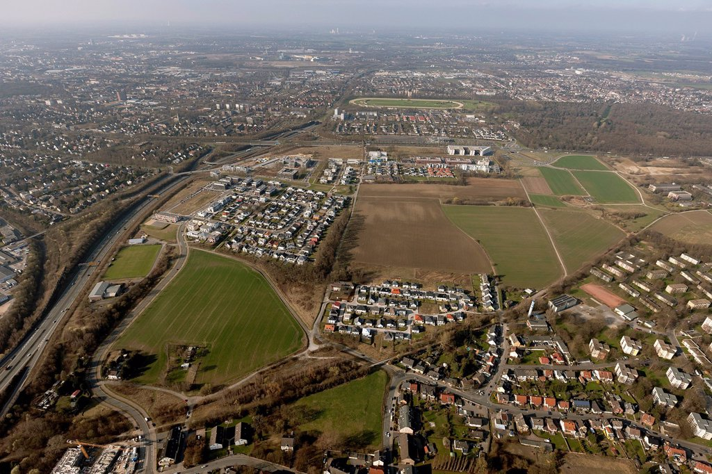 Stock Photo: 1848-715966 Aerial view, Stadtkrone Ost, B1, commercial area, residential area, development company, Dortmund, Ruhr area, North Rhine_Westphalia, Germany, Europe