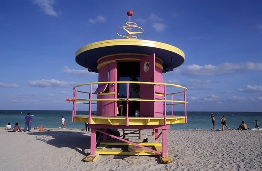 Stock Photo: 1848-71600 Watchtower of the life_guards in Art Deco style at the beach, Miami Beach, Florida, USA