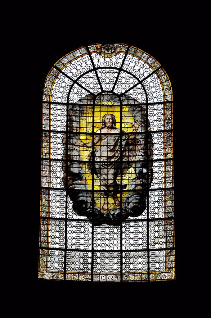 Risen Christ, historic stained glass windows, 17th Century, Catholic parish church of Saint_Sulpice de Paris, Saint_Germain_des_Prés, Paris, France, Europe : Stock Photo