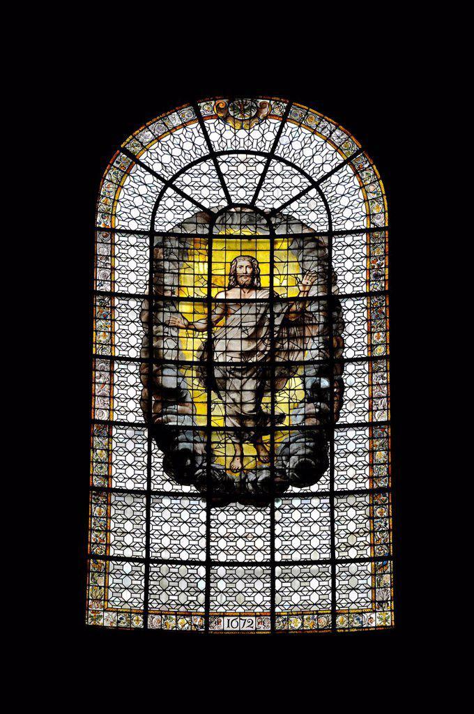 Stock Photo: 1848-716052 Risen Christ, historic stained glass windows, 17th Century, Catholic parish church of Saint_Sulpice de Paris, Saint_Germain_des_Prés, Paris, France, Europe