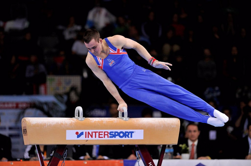 Stock Photo: 1848-716137 Samuel Hunter, GBR, performing on pommel horse, EnBW Gymnastics World Cup, 11 to 13 Nov 2011, 29th DTB Cup, Porsche_Arena, Stuttgart, Baden_Wuerttemberg, Germany, Europe