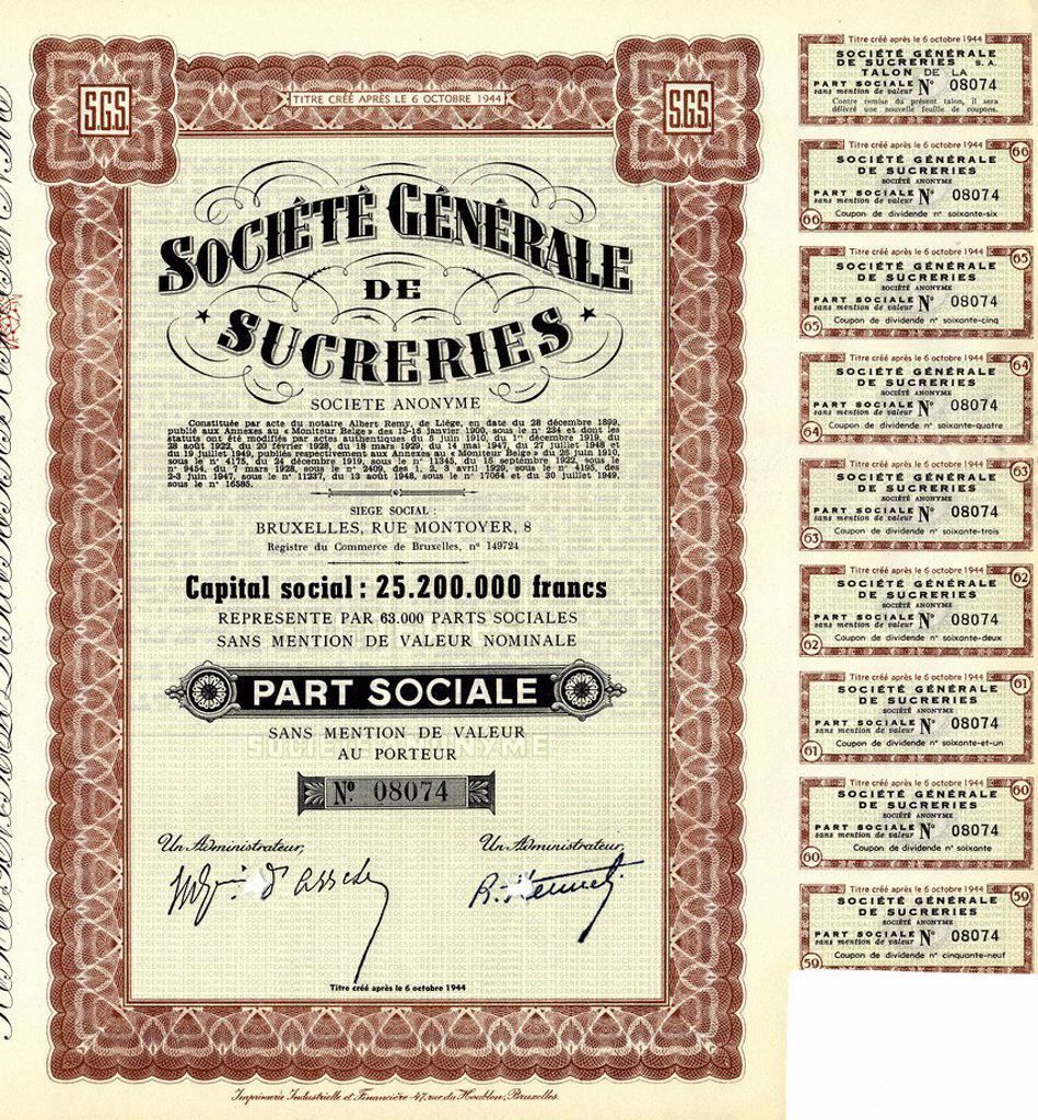 Stock Photo: 1848-716452 Historical share certificate, sugar industry, Société Générale de Sucreries, 1944, Brussels, Belgium, Europe