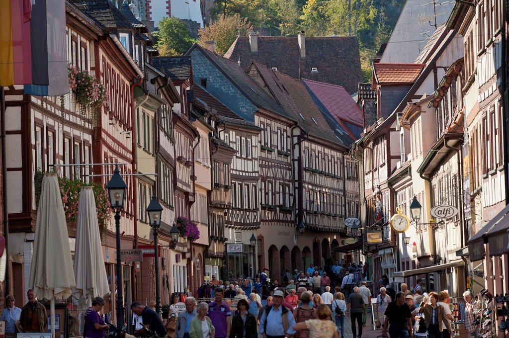 Stock Photo: 1848-716509 Half_timbered houses, main street, Miltenberg, Lower Franconia, Franconia, Germany, Europe