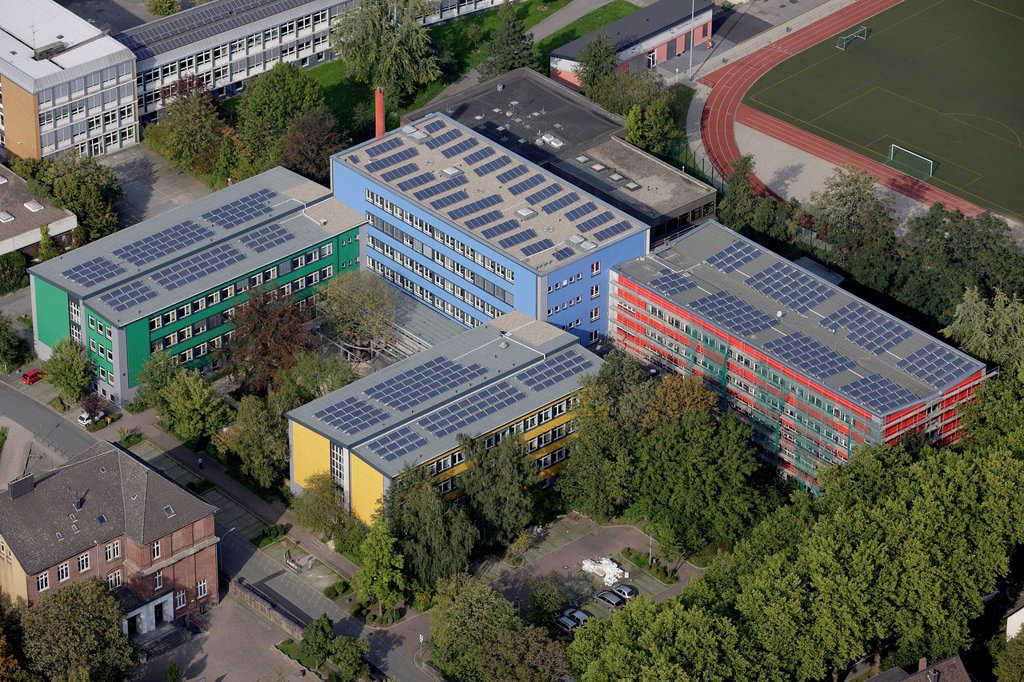 Stock Photo: 1848-716559 Aerial view, solar panels on roofs, vocational schools in Husemannstrasse, Witten, Ruhr Area, North Rhine_Westphalia, Germany, Europe