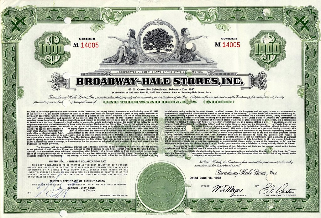 Historical share certificate, allegorical representation, supermarket chain, Hale Brothers merged with Broadway Department Stores to Broadway_Hale Stores Inc, later rebranded to Carter Hawley Hale Stores, 1972, California, USA : Stock Photo