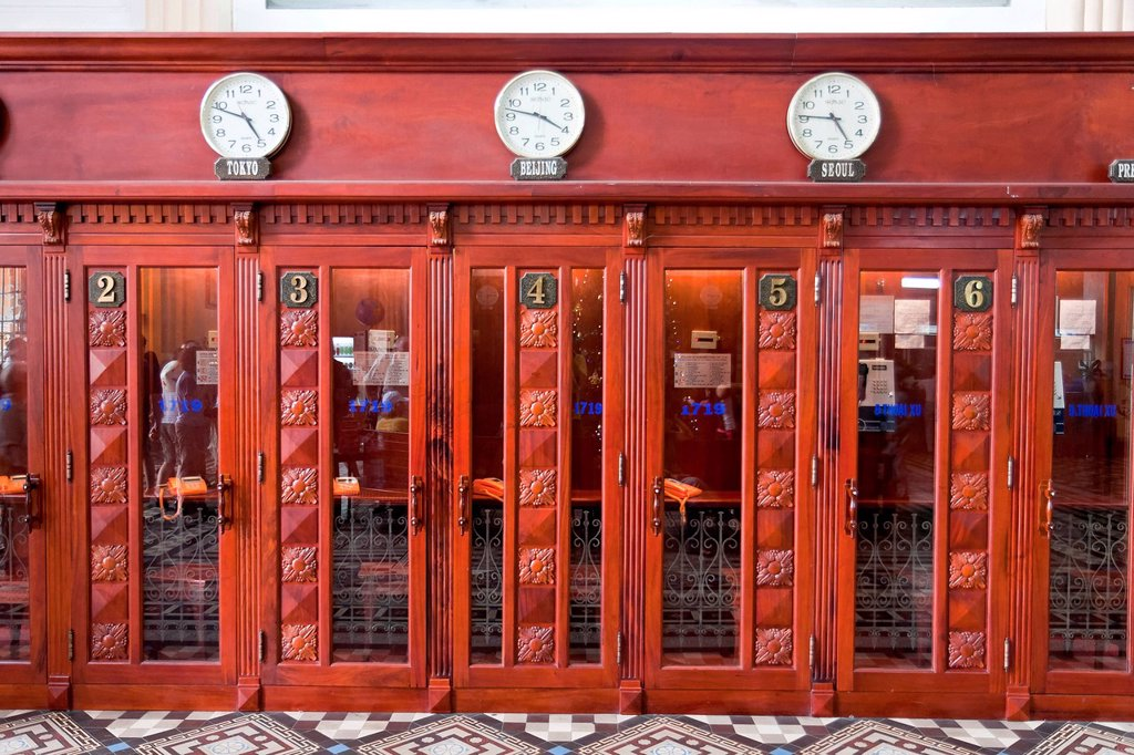 Stock Photo: 1848-717092 Old telephone booths in the old post office of Saigon, Vietnam, Southeast Asia