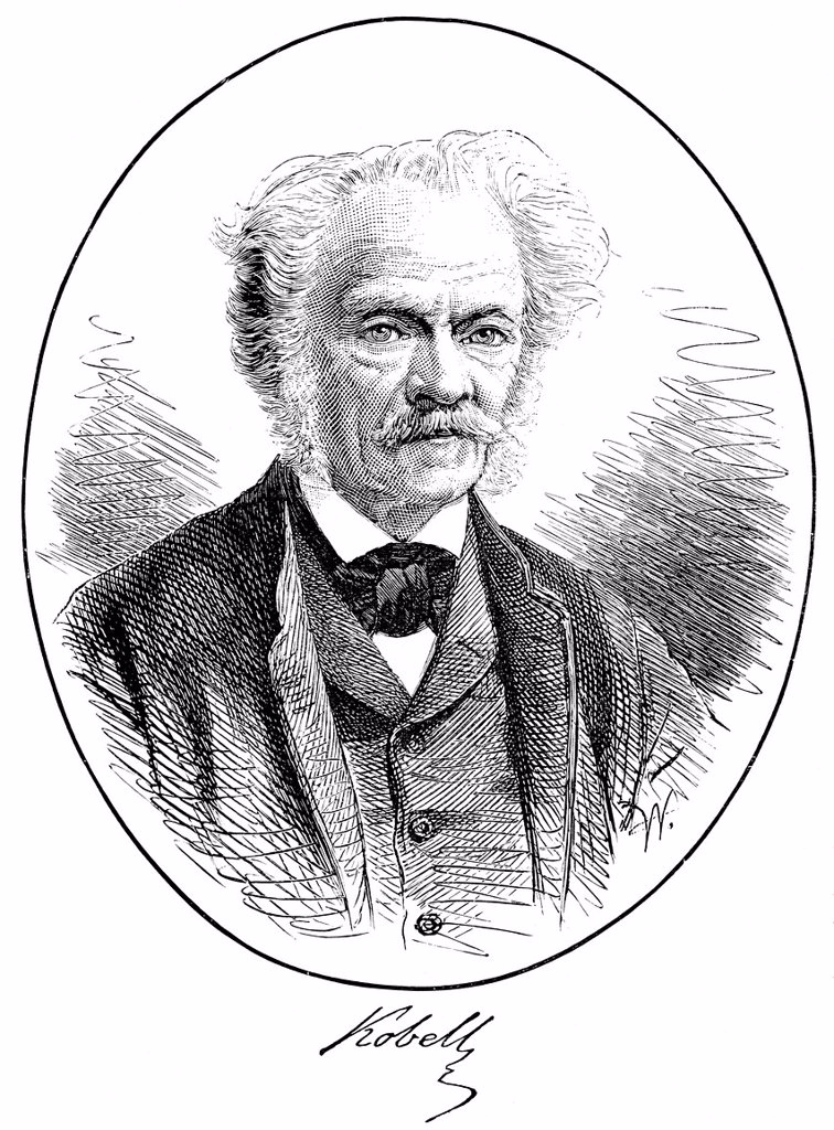 Stock Photo: 1848-717209 Historical pressure, 1875, portrait of Franz Ritter von Kobell, 1803 _ 1882, German mineralogist and writer, from the Illustrated History of German National Literature, by Gustav Koennecke, 1887