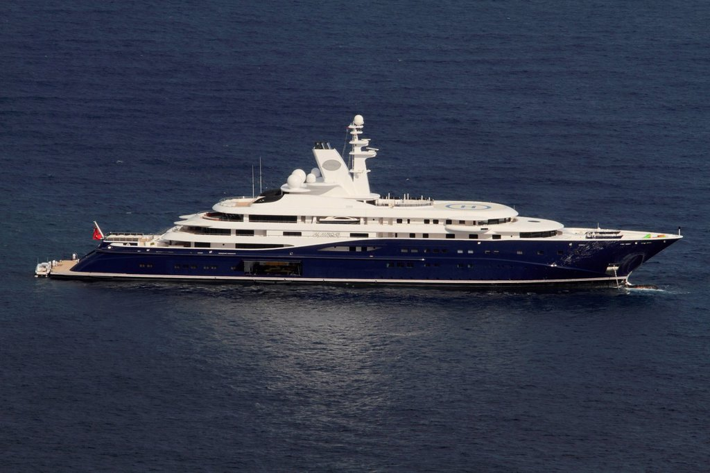 Motor yacht, Al Mirqab, built by Peters Schiffbau GmbH, length 133 metres, built in 2008, off Monaco, Côte d´Azur, Mediterranean, Europe : Stock Photo