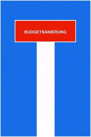 Symbolic image, dead end street, cul_de_sac, Budgetsanierung, German for ´´financial restructuring of budget´´ : Stock Photo