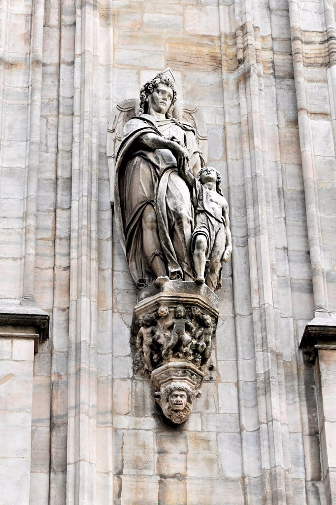 Sculpture on the facade of Milan Cathedral, Duomo di Milano, construction begin 1386, completion 1858, Milan, Milano, Lombardy, Italy, Europe, PublicGround : Stock Photo