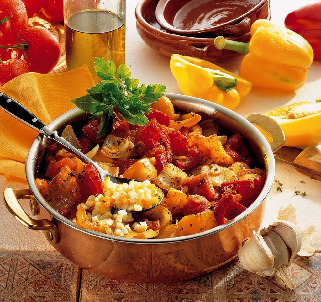 Majorcan vegetable stew, mixed vegetables with aromatic herbs, Spain, recipe available for a fee : Stock Photo