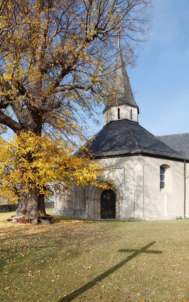 Stock Photo: 1848-718512 St. Sigismund Chapel, formerly St. Nicholas and St. Martin´s Church, built around 1200, Romanesque octagon construction, Oberwittighausen, Wittighausen, Baden_Wuerttemberg, Germany, Europe