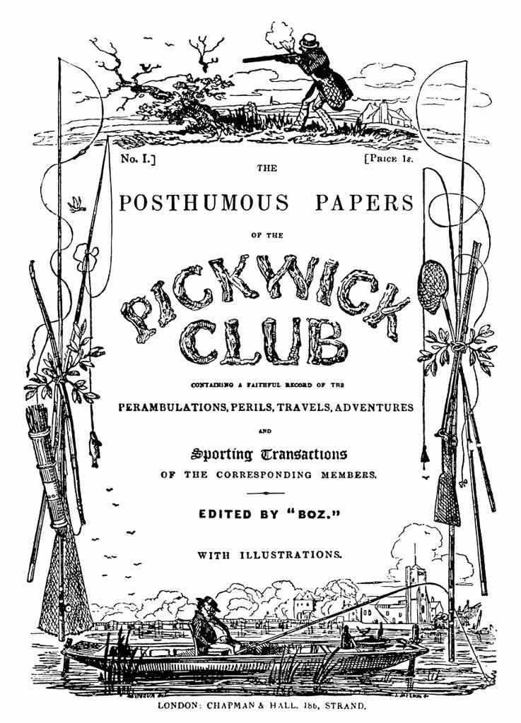 Historical illustration from the 19th Century, title to The Posthumous Papers of the Pickwick Club, the first novel by Charles John Huffam Dickens or Boz, 1812 _ 1870, an English writer : Stock Photo