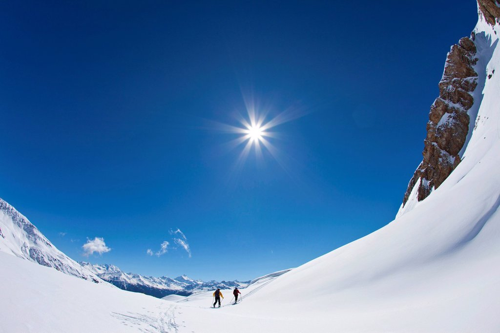 Stock Photo: 1848-718696 Two mountaineers on ascent with skis, Mt Torrenthorn skiing tour, Leukerbad, Valais, Switzerland, Europe