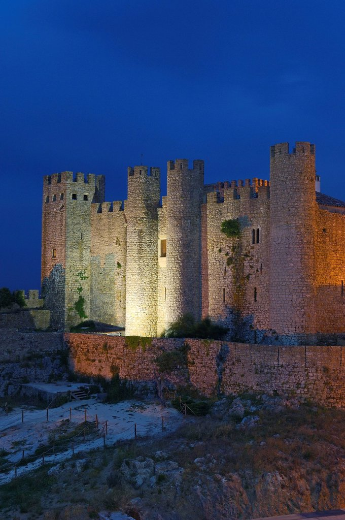 Obidos castle at dusk, now Hotel Pousada, Obidos, Leiria distric, Estremadura, Portugal, Europe : Stock Photo