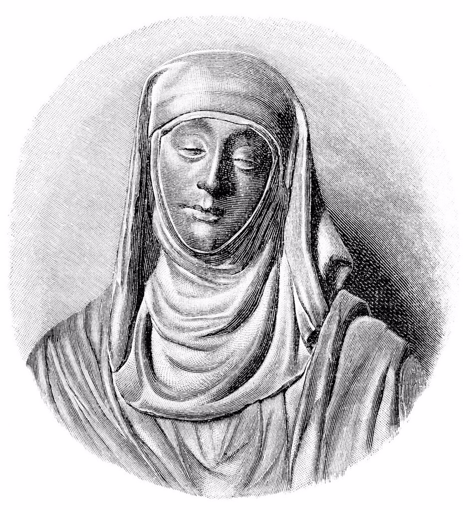 Stock Photo: 1848-718777 Historical illustration from the 19th Century, Saint Catherine of Siena, 1347 _ 1380, an Italian mystic, virgin and Doctor of the Church