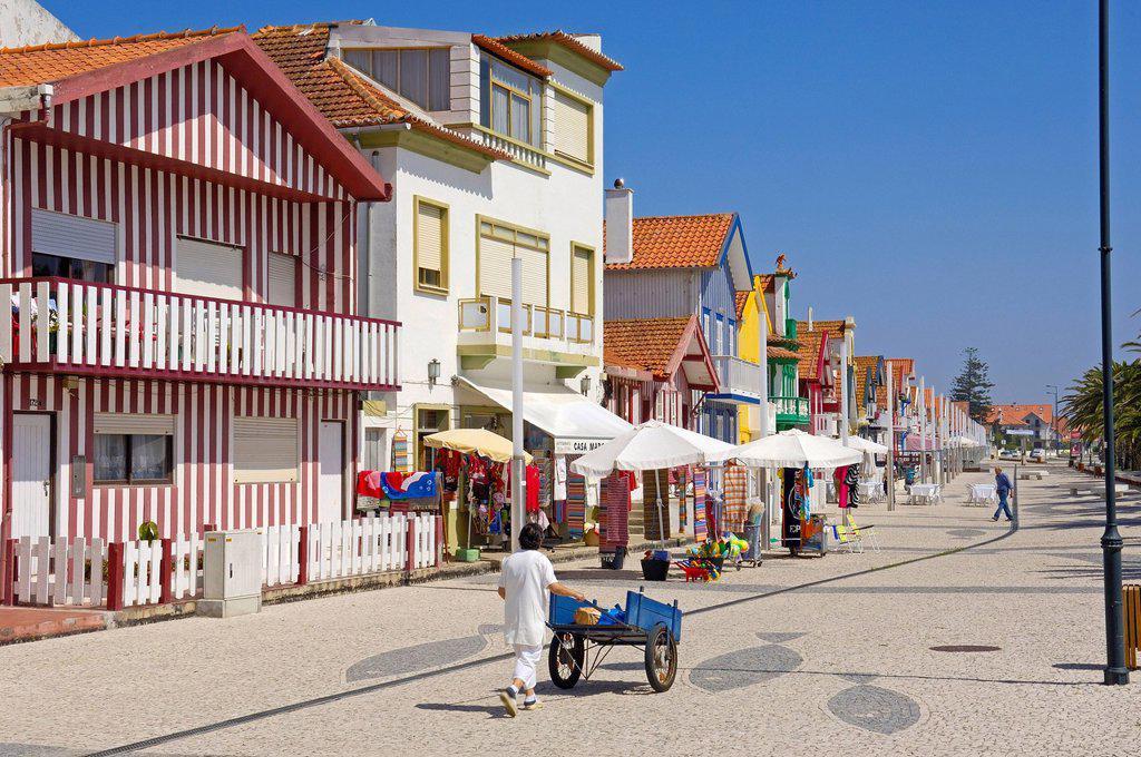 Stock Photo: 1848-718819 Palheiros, colourful houses, Costa Nova, Aveiro, Beiras region, Portugal, Europe