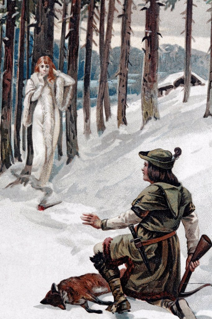 Stock Photo: 1848-718915 Hunter with a crossbow encountering a mysterious white woman in a snow_covered forest, historical postcard, circa 1900