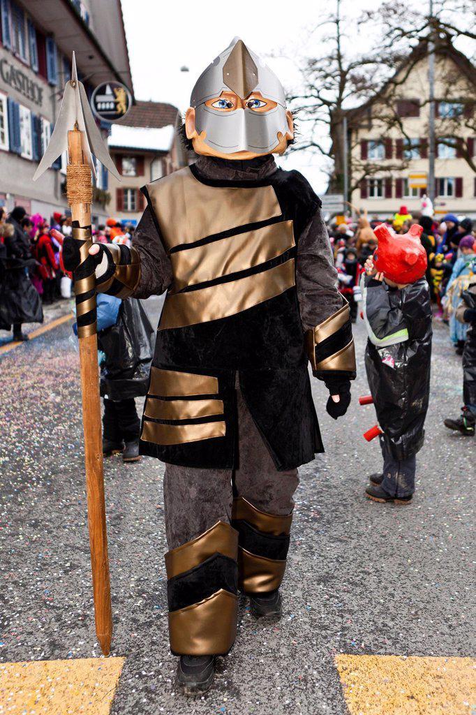 Stock Photo: 1848-719108 Knight, 35th Motteri_Umzug parade in Malters, Lucerne, Switzerland, Europe