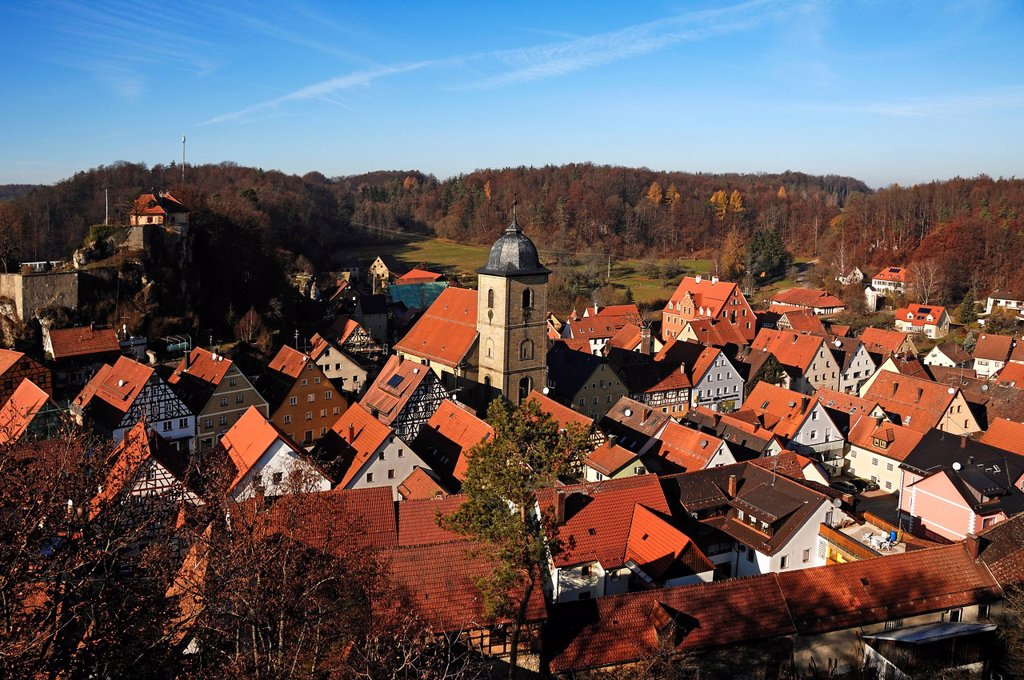 Stock Photo: 1848-719251 Upper Franconian village with church and castle from 1311, from the observation tower on Schmidberg hill, Betzenstein, Upper Franconia, Bavaria, Germany, Europe