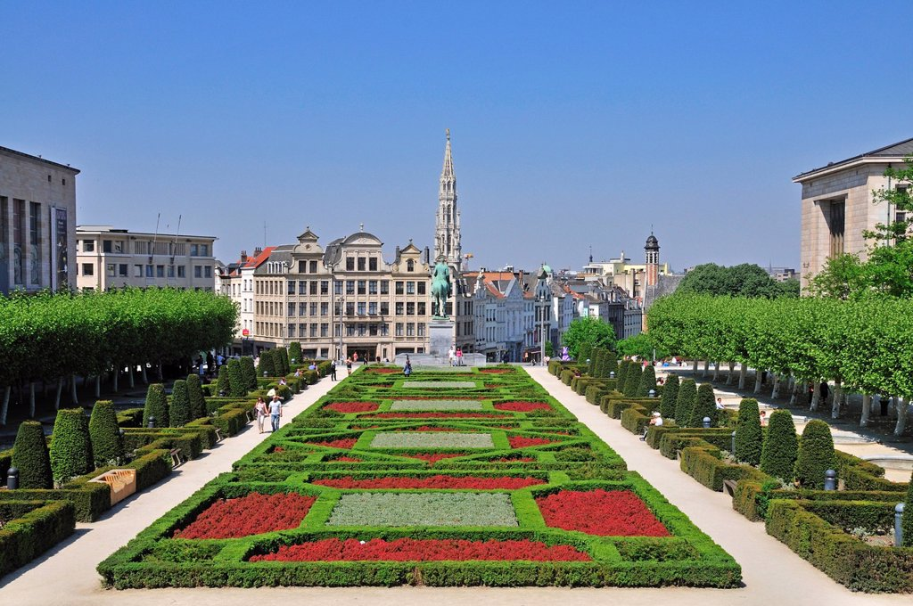 Stock Photo: 1848-719387 Panoramic view from the Mont des Arts to the equestrian statue of King Albert I, park at the Albert I Royal Library, Place de l´Albertine, Gothic tower of city hall at back, Brussels, Belgium, Europe, PublicGround
