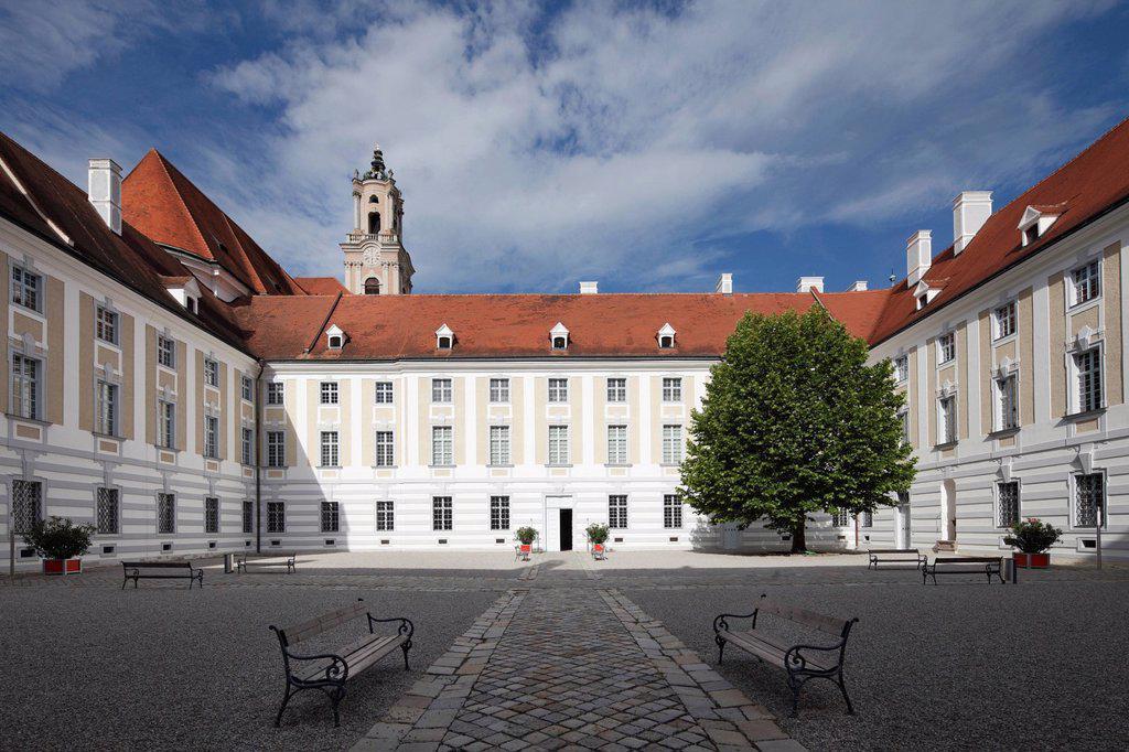 Stock Photo: 1848-719644 Courtyard, Herzogenburg Priory, monastery of the Augustinian Canons, Herzogenburg, Mostviertel, Must Quarter, Lower Austria, Austria, Europe