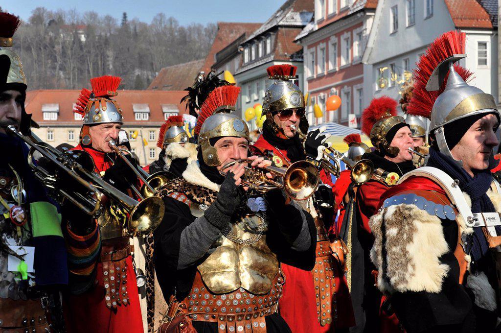 Guggenmusik, Bloos_Arsch carnival marching band St Georgen, 29th International Guggenmusik meeting, 11 February 2012, Schwaebisch Gmuend, Baden_Wuerttemberg, Germany, Europe : Stock Photo