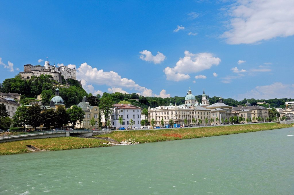 Stock Photo: 1848-719796 View over the Salzach River towards the historic town centre of Salzburg with the Hohensalzburg Fortress, Austria, Europe