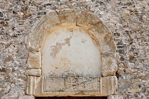 Tympanum, Panagia i Kera Church near Kritsa, Crete, Greece, Europe : Stock Photo