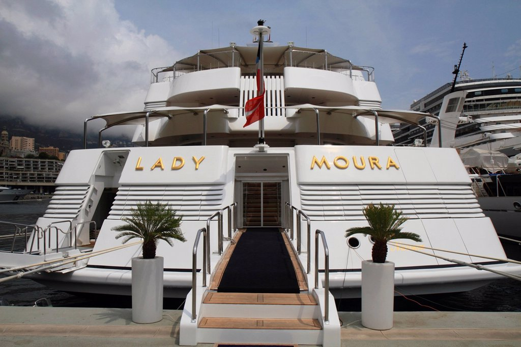 Stock Photo: 1848-720017 Lady Moura, cruiser, built by Blohm and Voss GmbH, 114.85 m, built in 1990, Principality of Monaco, French Riviera, Mediterranean Sea, Europe