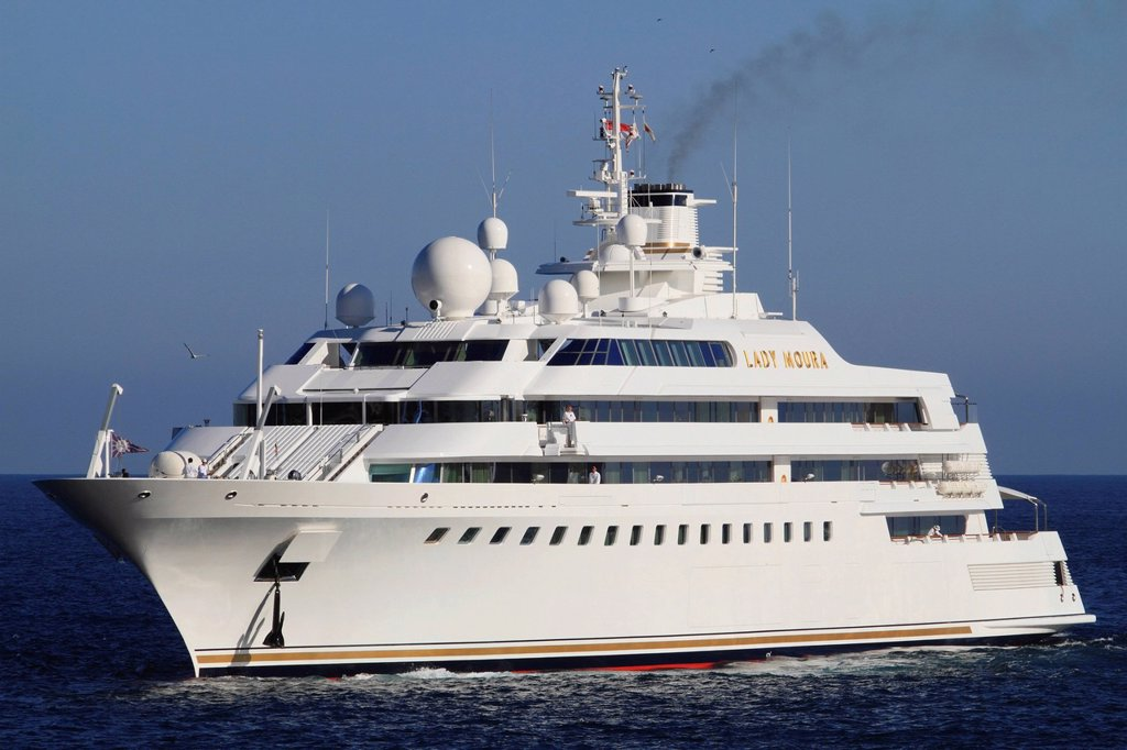 Stock Photo: 1848-720319 Lady Moura, cruiser, built by Blohm and Voss GmbH, 114.85 m, built in 1990, Principality of Monaco, French Riviera, Mediterranean Sea, Europe