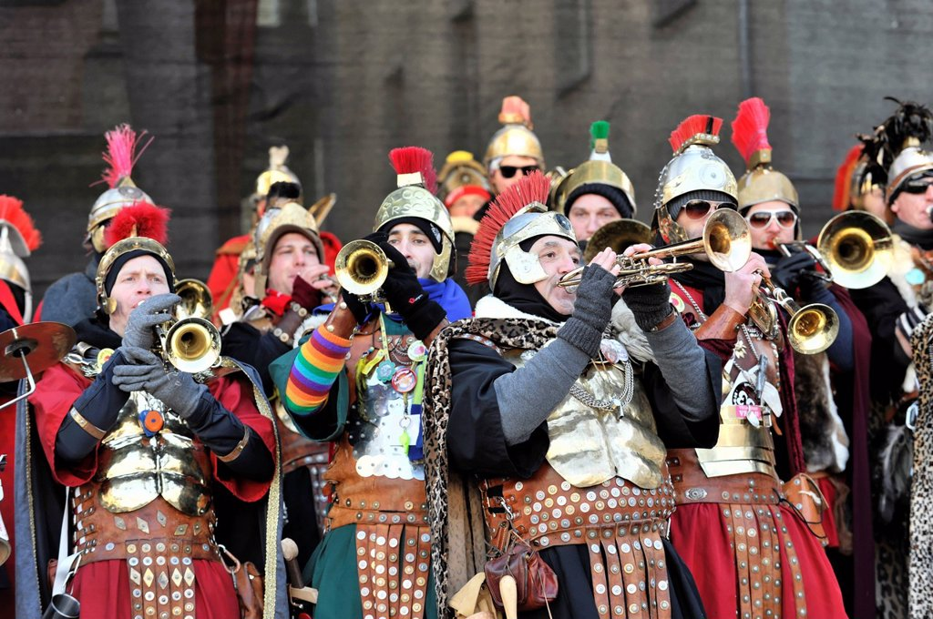 Guggenmusik, Bloos_Arsch, St Georgen carnival marching band, 29th International Guggenmusik Meeting, 2 February 2012, Schwaebisch Gmuend, Baden_Wuerttemberg, Germany, Europe : Stock Photo