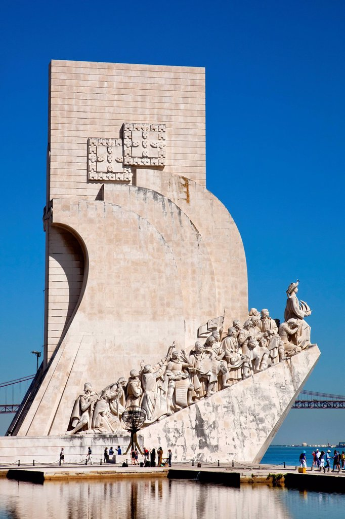 Stock Photo: 1848-720535 Padrao dos Descobrimentos, Monument to the Discoverers, honouring Henry the Navigator and the Portuguese period of discoveries and explorations, in the district of Belem in Lisbon, Portugal, Europe