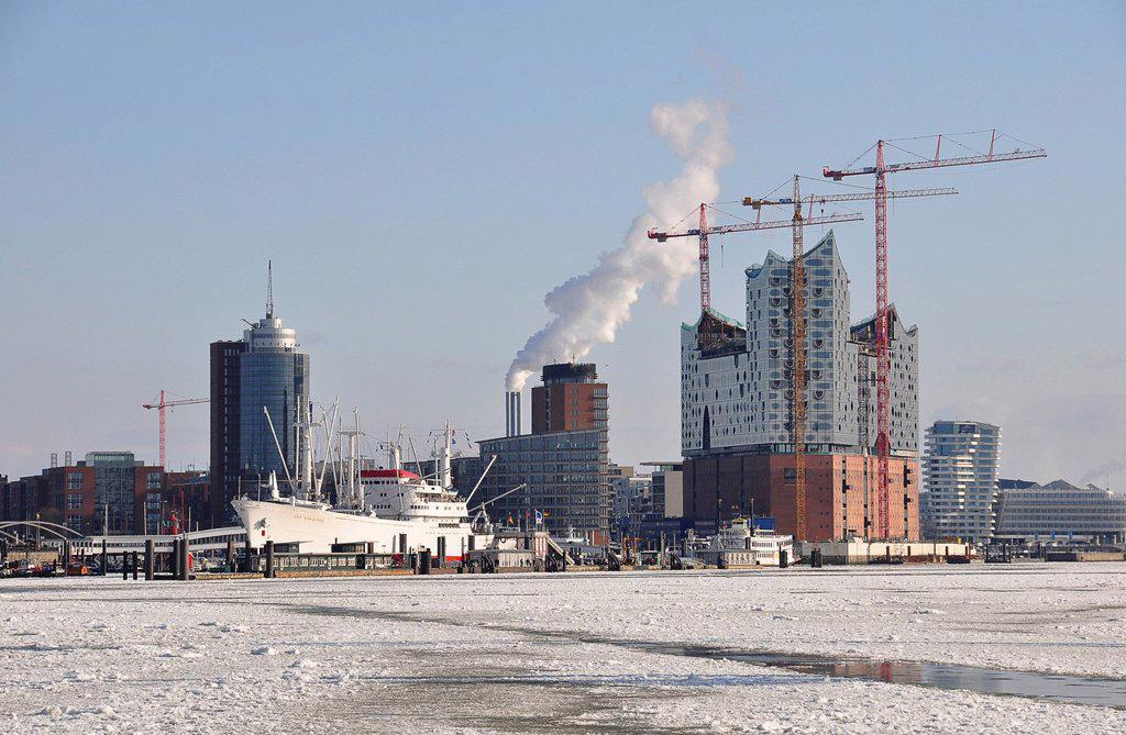 Stock Photo: 1848-720561 Port of Hamburg in the winter, Hamburg, Germany, Europe