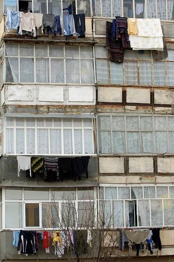 Plattenbau, prefabricated building, Romania, Eastern Europe : Stock Photo