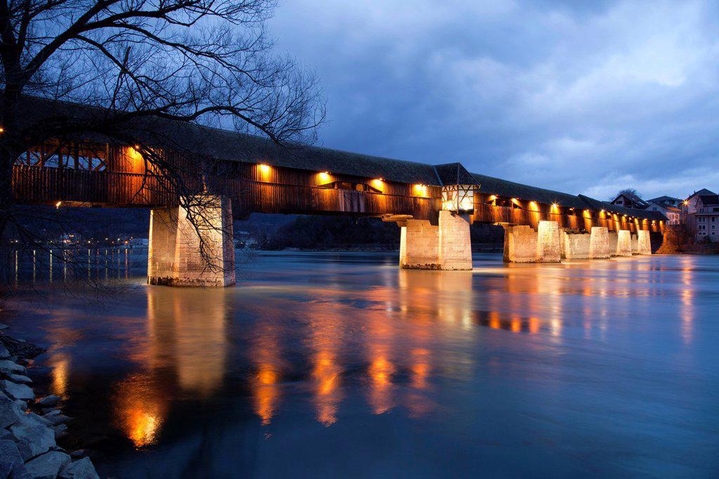 Stock Photo: 1848-720892 Covered wooden bridge crossing the Rhine River, Bad Saeckingen, Waldshut district, Upper Rhine, Black Forest, Baden_Wuerttemberg, Germany, Europe, PublicGround