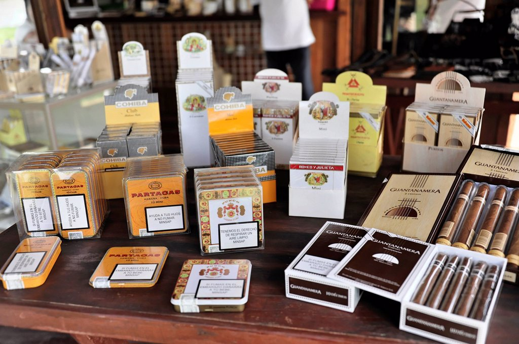 Stock Photo: 1848-721080 Selection of original Cuban cigars, tourist shop, Santa Clara, Cuba, Central America, America