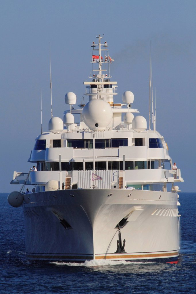 Stock Photo: 1848-721180 Lady Moura, cruiser, built by Blohm and Voss GmbH, 114.85 m, built in 1990, Principality of Monaco, French Riviera, Mediterranean Sea, Europe