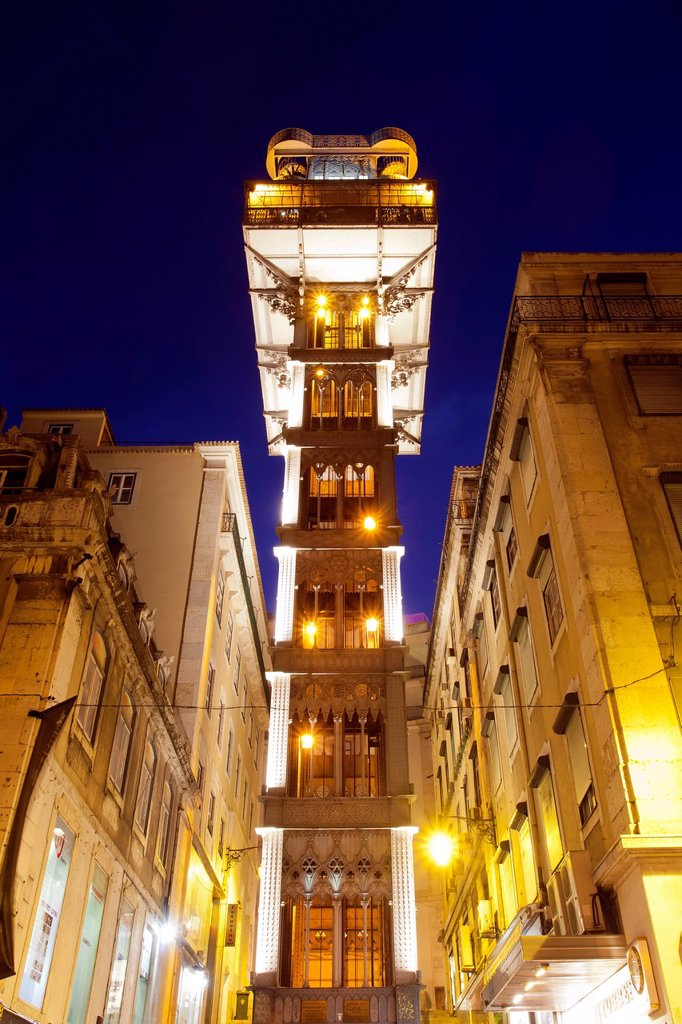 Stock Photo: 1848-721229 Elevador de Santa Justa, Santa Justa Elevator, at night, connecting the two historic districts of Baixa and Chiado, Lisbon, Portugal, Europe