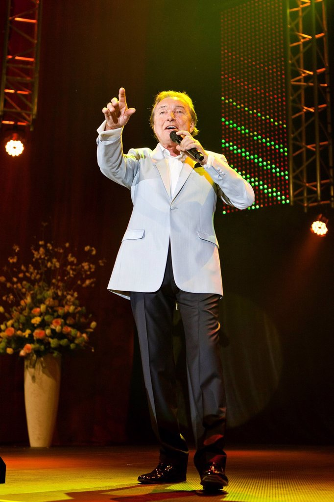 Stock Photo: 1848-721372 Czech pop singer Karel Gott performing live at the Schlager Nacht 2012, pop song night, in Lucerne, Switzerland, Europe