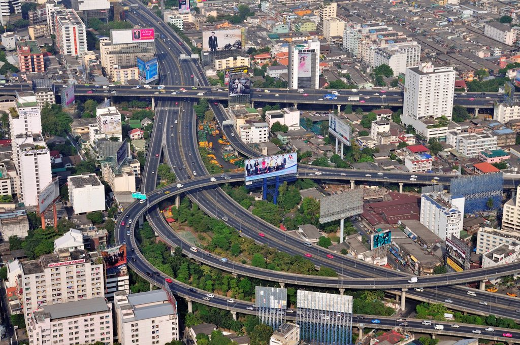 Stock Photo: 1848-721390 View from Baiyoke Tower, Bangkok, Thailand, Asia, PublicGround
