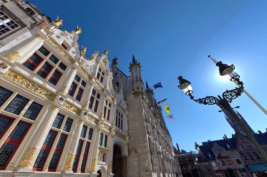 Stock Photo: 1848-721755 Gilded facade of Civiele Griffie, records office, old town of Bruges, UNESCO World Heritage Site, West Flanders, Flemish Region, Bruges, Belgium, Europe