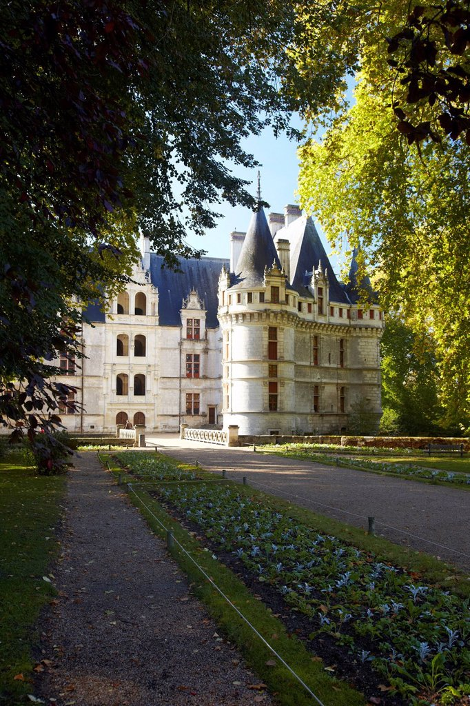 Loire_Château of Azay_le_Rideau, Renaissance, France, Europe : Stock Photo